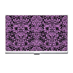 Damask2 Black Marble & Purple Colored Pencil (r) Business Card Holders