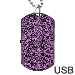 Damask2 Black Marble & Purple Colored Pencil (r) Dog Tag Usb Flash (two Sides) by trendistuff