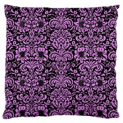 Damask2 Black Marble & Purple Colored Pencil (r) Large Flano Cushion Case (two Sides) by trendistuff