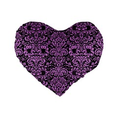 Damask2 Black Marble & Purple Colored Pencil (r) Standard 16  Premium Flano Heart Shape Cushions by trendistuff