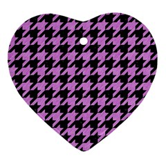 Houndstooth1 Black Marble & Purple Colored Pencil Ornament (heart)
