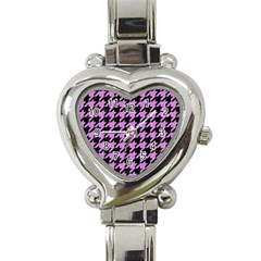 Houndstooth1 Black Marble & Purple Colored Pencil Heart Italian Charm Watch by trendistuff