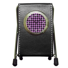 Houndstooth1 Black Marble & Purple Colored Pencil Pen Holder Desk Clocks by trendistuff