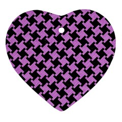 Houndstooth2 Black Marble & Purple Colored Pencil Heart Ornament (two Sides) by trendistuff