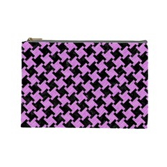 Houndstooth2 Black Marble & Purple Colored Pencil Cosmetic Bag (large)  by trendistuff