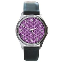 Hexagon1 Black Marble & Purple Colored Pencil Round Metal Watch by trendistuff