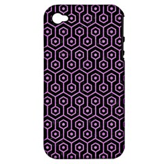 Hexagon1 Black Marble & Purple Colored Pencil (r) Apple Iphone 4/4s Hardshell Case (pc+silicone) by trendistuff