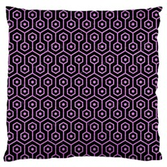 Hexagon1 Black Marble & Purple Colored Pencil (r) Large Flano Cushion Case (one Side) by trendistuff