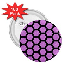 Hexagon2 Black Marble & Purple Colored Pencil 2 25  Buttons (100 Pack)  by trendistuff