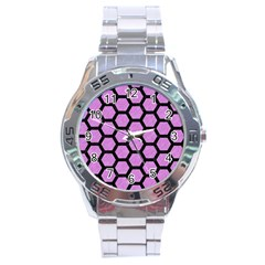 Hexagon2 Black Marble & Purple Colored Pencil Stainless Steel Analogue Watch by trendistuff