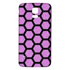Hexagon2 Black Marble & Purple Colored Pencil Samsung Galaxy S5 Back Case (white) by trendistuff