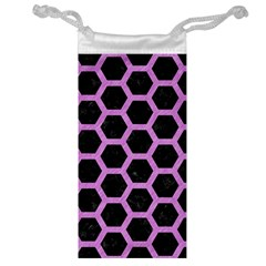 Hexagon2 Black Marble & Purple Colored Pencil (r) Jewelry Bag by trendistuff