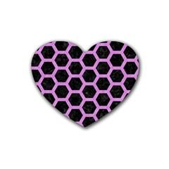Hexagon2 Black Marble & Purple Colored Pencil (r) Heart Coaster (4 Pack)  by trendistuff