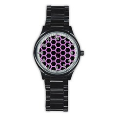 Hexagon2 Black Marble & Purple Colored Pencil (r) Stainless Steel Round Watch by trendistuff
