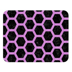 Hexagon2 Black Marble & Purple Colored Pencil (r) Double Sided Flano Blanket (large)  by trendistuff