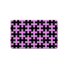 Puzzle1 Black Marble & Purple Colored Pencil Magnet (name Card) by trendistuff