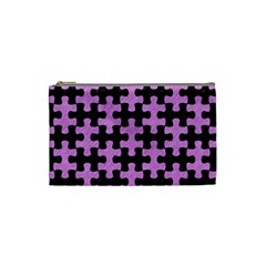 Puzzle1 Black Marble & Purple Colored Pencil Cosmetic Bag (small)  by trendistuff
