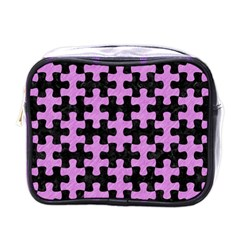 Puzzle1 Black Marble & Purple Colored Pencil Mini Toiletries Bags by trendistuff