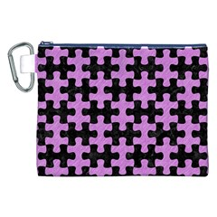 Puzzle1 Black Marble & Purple Colored Pencil Canvas Cosmetic Bag (xxl) by trendistuff