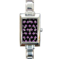 Royal1 Black Marble & Purple Colored Pencil Rectangle Italian Charm Watch by trendistuff