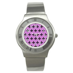 Royal1 Black Marble & Purple Colored Pencil (r) Stainless Steel Watch by trendistuff