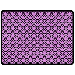 Scales2 Black Marble & Purple Colored Pencil Double Sided Fleece Blanket (large)  by trendistuff