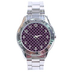 Scales2 Black Marble & Purple Colored Pencil (r) Stainless Steel Analogue Watch by trendistuff