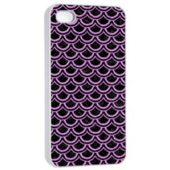 Scales2 Black Marble & Purple Colored Pencil (r) Apple Iphone 4/4s Seamless Case (white) by trendistuff