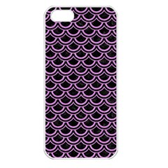 Scales2 Black Marble & Purple Colored Pencil (r) Apple Iphone 5 Seamless Case (white) by trendistuff