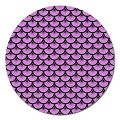 Scales3 Black Marble & Purple Colored Pencil Magnet 5  (round) by trendistuff