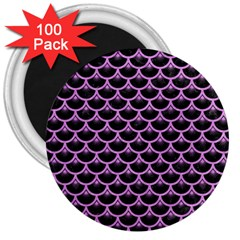 Scales3 Black Marble & Purple Colored Pencil (r) 3  Magnets (100 Pack) by trendistuff