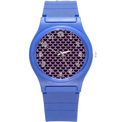 Scales3 Black Marble & Purple Colored Pencil (r) Round Plastic Sport Watch (s) by trendistuff