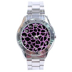 Skin1 Black Marble & Purple Colored Pencil Stainless Steel Analogue Watch by trendistuff