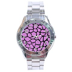 Skin1 Black Marble & Purple Colored Pencil (r) Stainless Steel Analogue Watch by trendistuff
