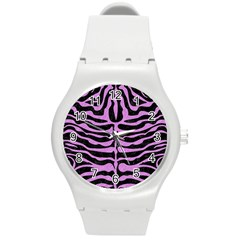 Skin2 Black Marble & Purple Colored Pencil (r) Round Plastic Sport Watch (m) by trendistuff
