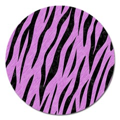 Skin3 Black Marble & Purple Colored Pencil Magnet 5  (round) by trendistuff