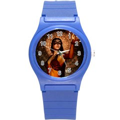 Wonderful Fantasy Women With Mask Round Plastic Sport Watch (s) by FantasyWorld7