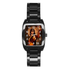 Wonderful Fantasy Women With Mask Stainless Steel Barrel Watch by FantasyWorld7