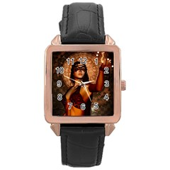 Wonderful Fantasy Women With Mask Rose Gold Leather Watch  by FantasyWorld7
