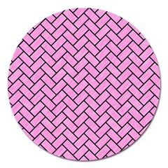 Brick2 Black Marble & Pink Colored Pencil Magnet 5  (round) by trendistuff