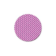 Brick2 Black Marble & Pink Colored Pencil Golf Ball Marker by trendistuff