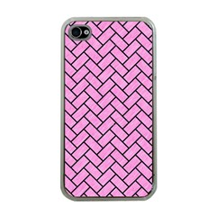 Brick2 Black Marble & Pink Colored Pencil Apple Iphone 4 Case (clear)
