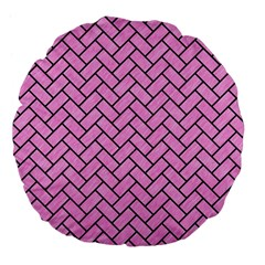 Brick2 Black Marble & Pink Colored Pencil Large 18  Premium Flano Round Cushions by trendistuff