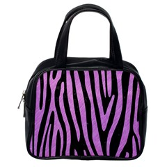Skin4 Black Marble & Purple Colored Pencil Classic Handbags (one Side) by trendistuff