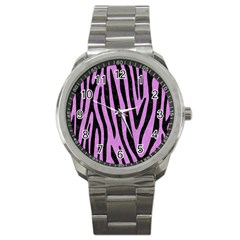 Skin4 Black Marble & Purple Colored Pencil (r) Sport Metal Watch by trendistuff