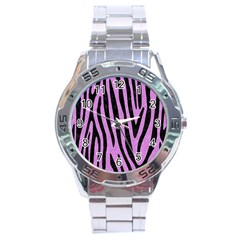 Skin4 Black Marble & Purple Colored Pencil (r) Stainless Steel Analogue Watch by trendistuff