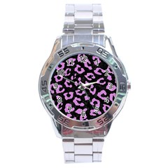 Skin5 Black Marble & Purple Colored Pencil Stainless Steel Analogue Watch by trendistuff