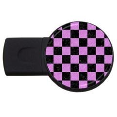Square1 Black Marble & Purple Colored Pencil Usb Flash Drive Round (2 Gb) by trendistuff