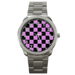 Square1 Black Marble & Purple Colored Pencil Sport Metal Watch by trendistuff