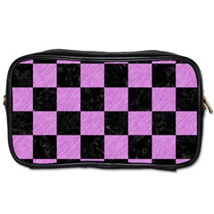 Square1 Black Marble & Purple Colored Pencil Toiletries Bags 2 Side by trendistuff